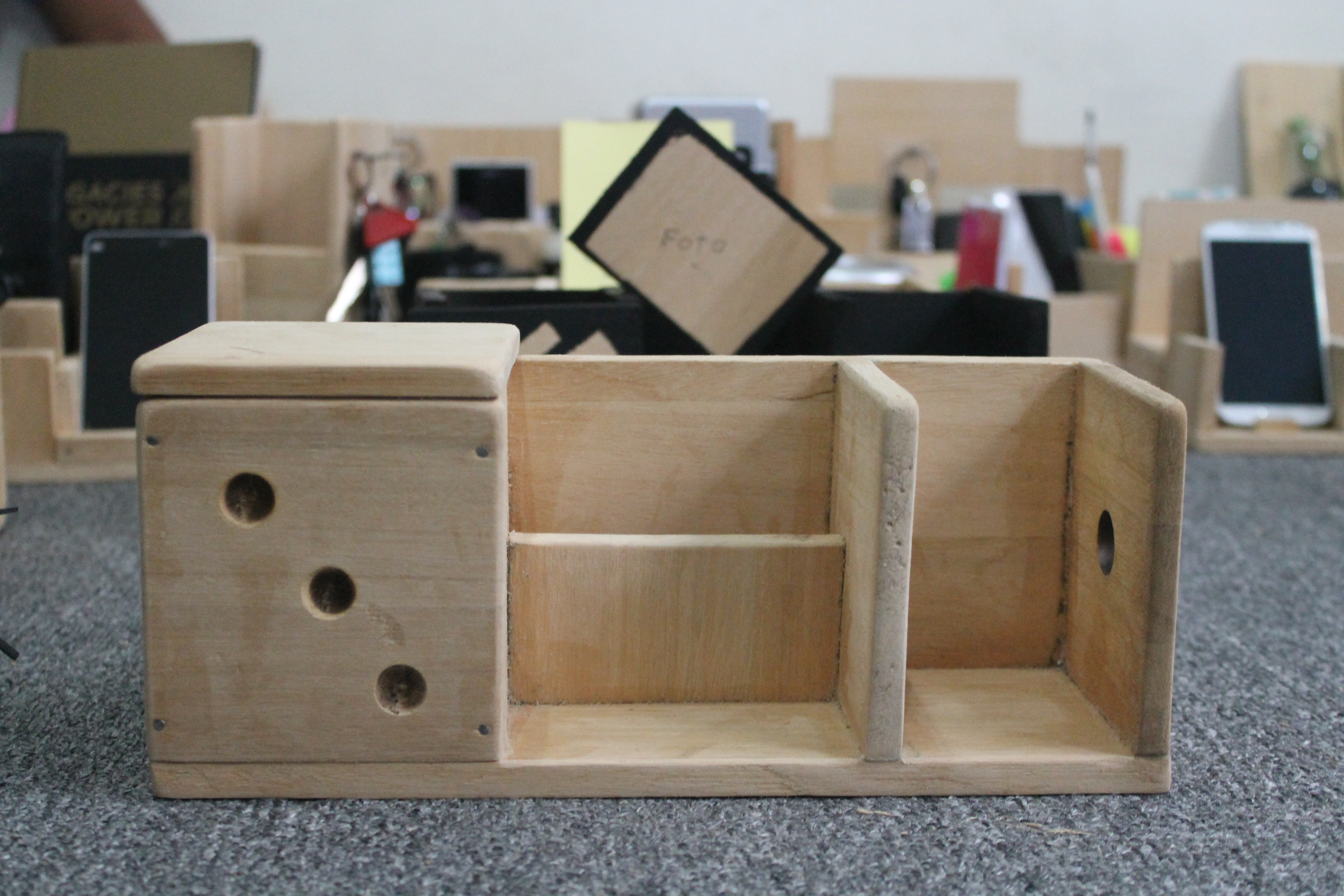 Play saturday crafting our very own diy wooden desk organizers blog - Wooden desk organizers ...