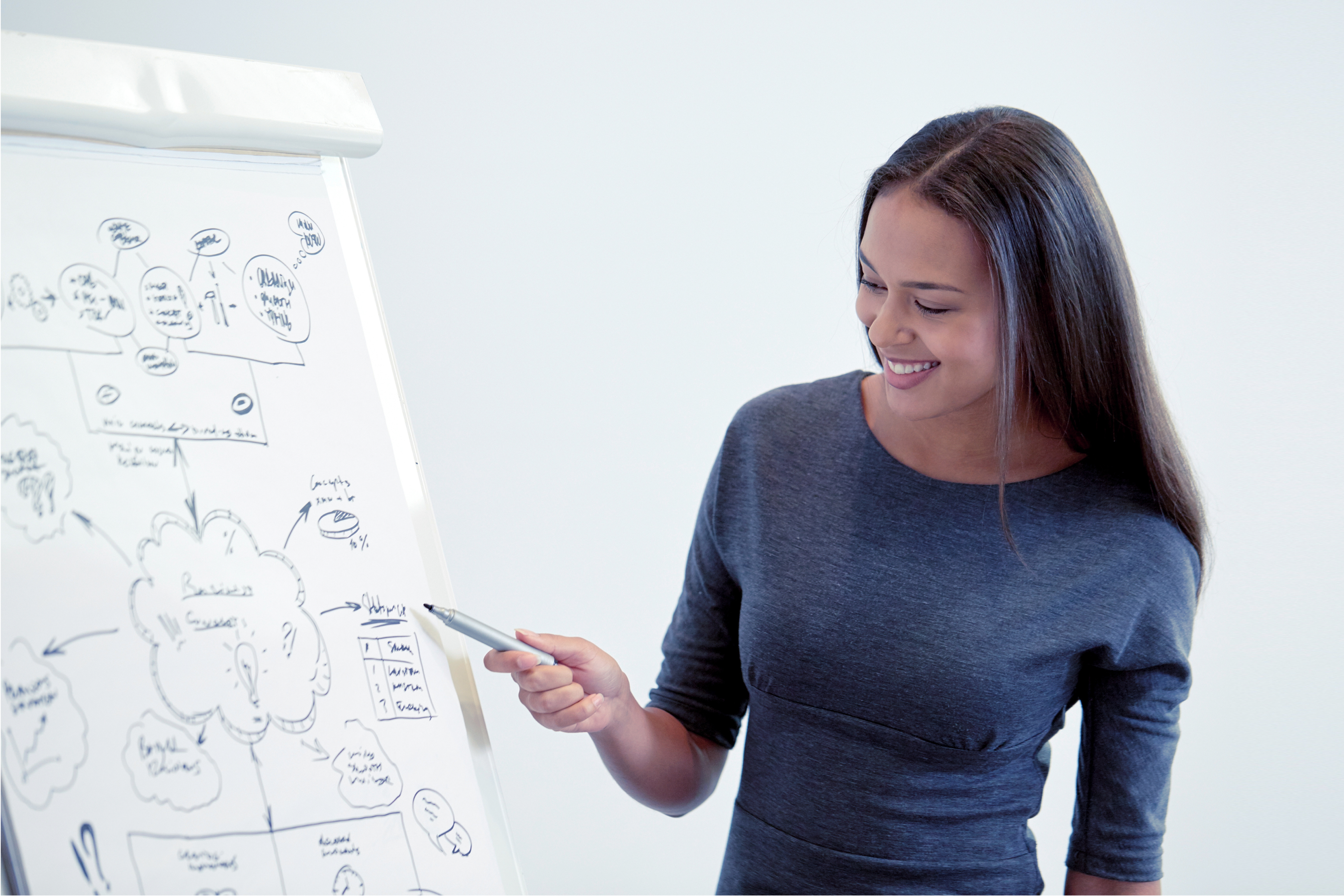 Woman brainstorms net neutrality and great design on a white board