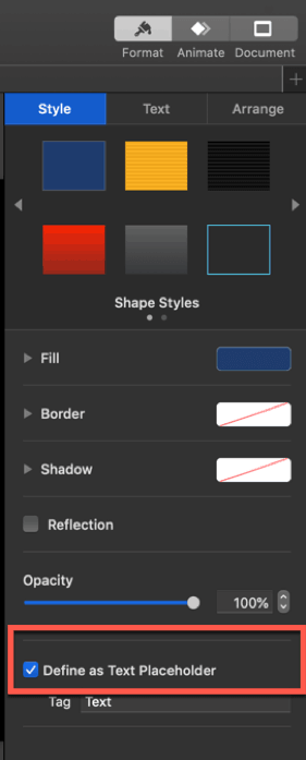 how to define an element as placeholder in keynote