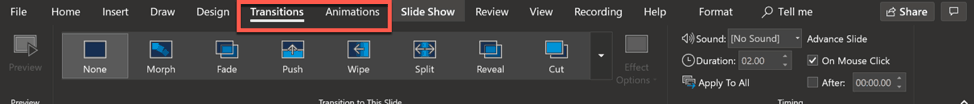 powerpoint's animations and transitions tab