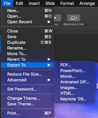 limited export options in apple keynote
