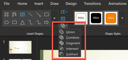 shapes options in powerpoint