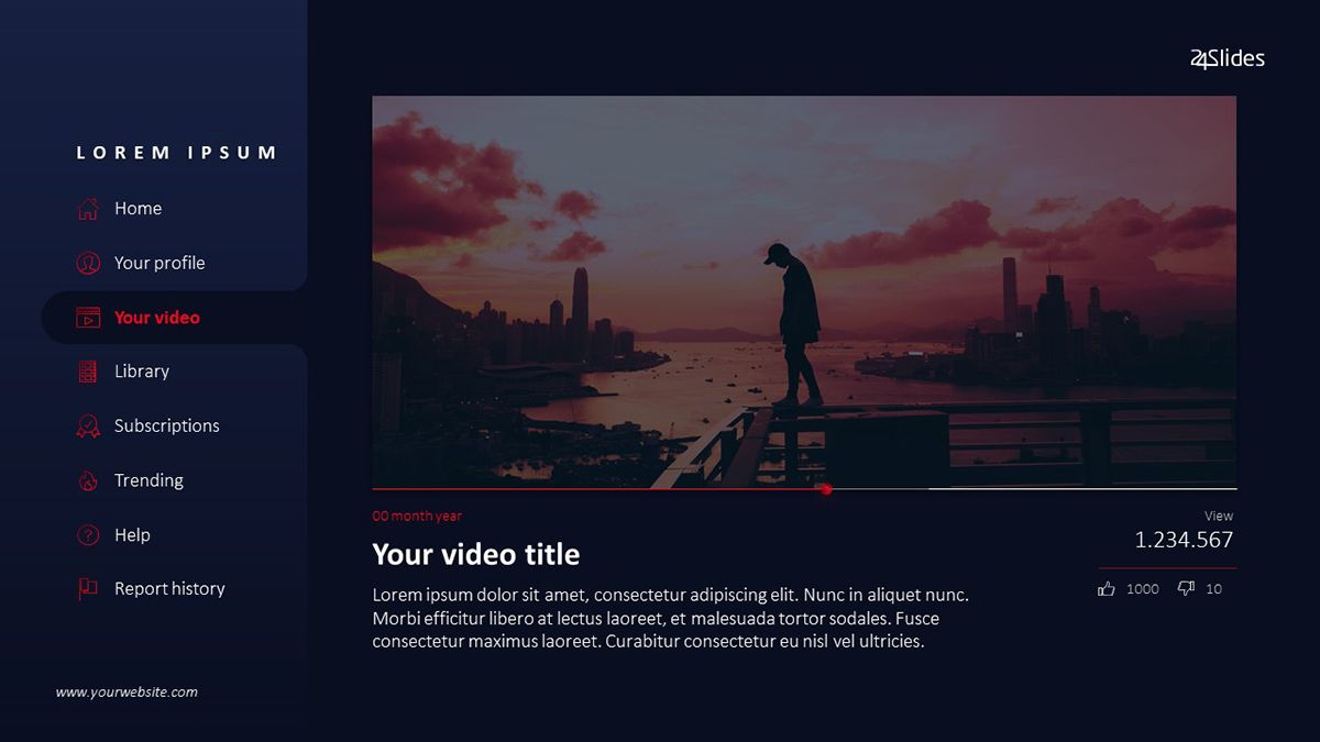 Youtube PowerPoint Slide by 24Slides