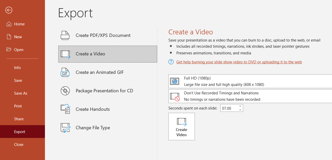 export powerpoint as video for social media content