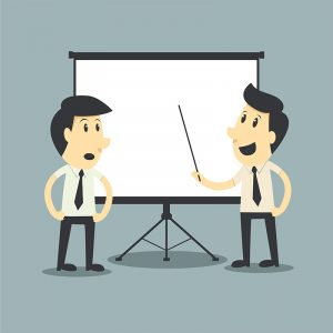 Two characters giving a presentation