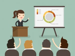 Image of someone giving a corporate presentation