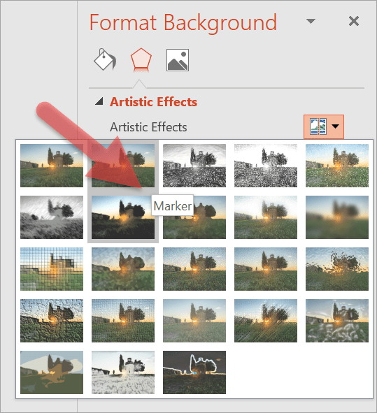 Hover your mouse over the different artistic effects to find out what each effect is called.