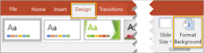 How to add background in PowerPoint – the Design tab method.