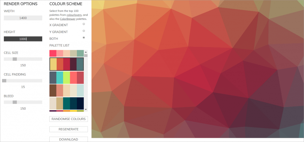 The Trianglify Background Generator will help you create awesome PPT background designs