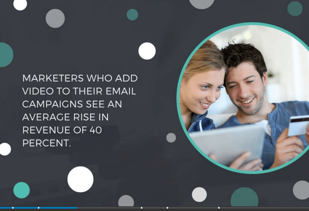 This PowerPoint slide's background is a combination of an image overlaid with a dark color and round shapes. The main content easily stands out.