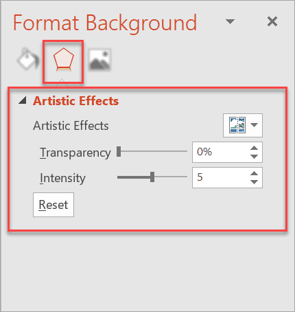 How to access the Artistic Effects options in Format Background Menu