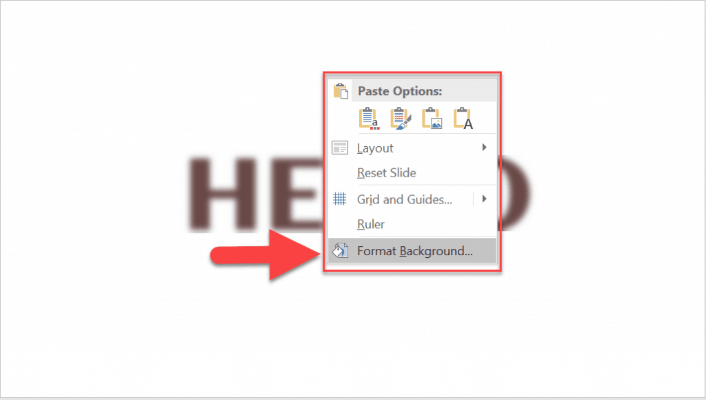 How to add a background in PowerPoint – the right-click method.