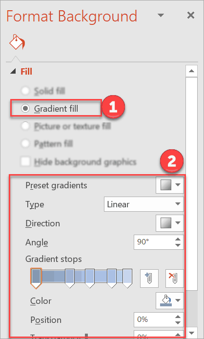 How to use gradient fill background in PowerPoint