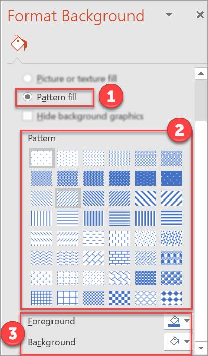 How to use patterns as background in PowerPoint.