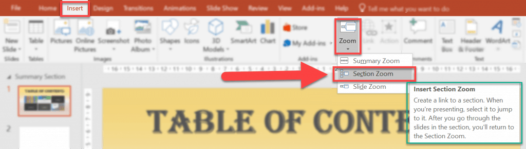 How to add a Section Zoom in PowerPoint 2016