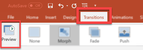 How to preview your Morph transition