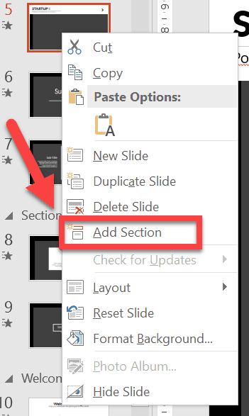 Right-clicking on a slide thumbnail will give you plenty of options. Click on Add Section