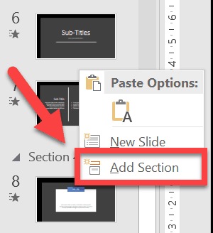 Right-clicking on blank space gives you these options