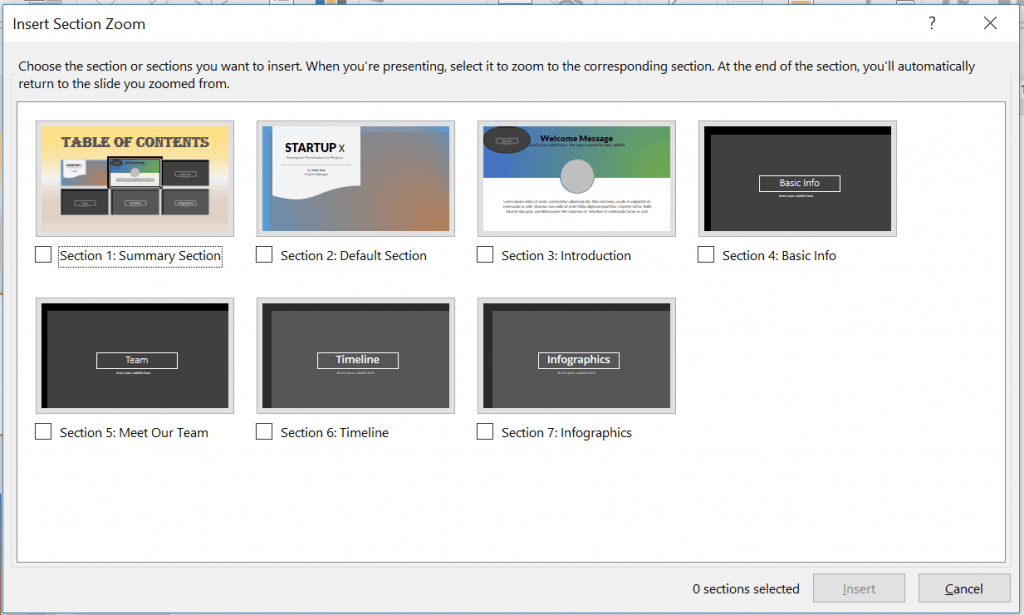 The Section Zoom dialog box. Select the section or sections you want to insert to your slide
