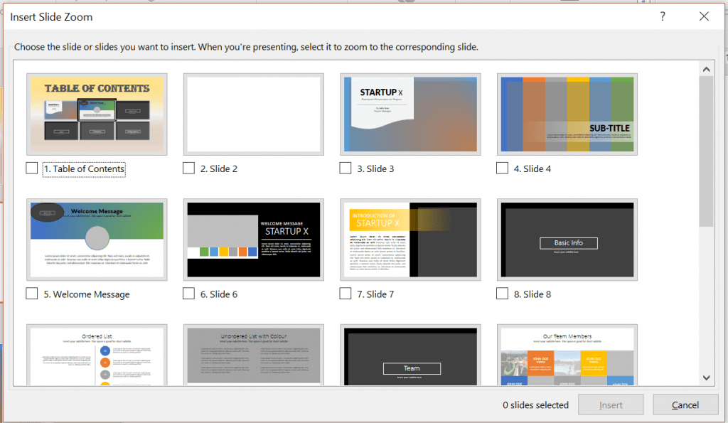The Slide Zoom dialog box. Select the slide or slides you want to insert to your current slide