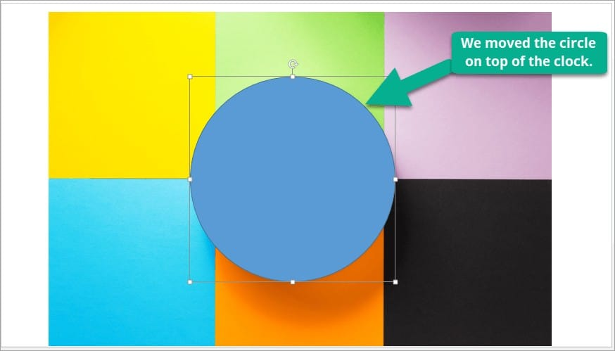 How to use the intersect-merge method to crop an image in PowerPoint – inserting circle shape on the slide
