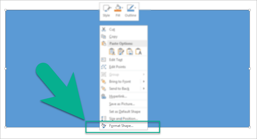 Format shape option on PowerPoint can be accessed by right-clicking on the shape
