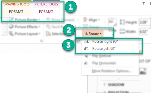 Rotate right and rotate left options in PowerPoint