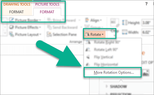 More rotation options for your image in PowerPoint