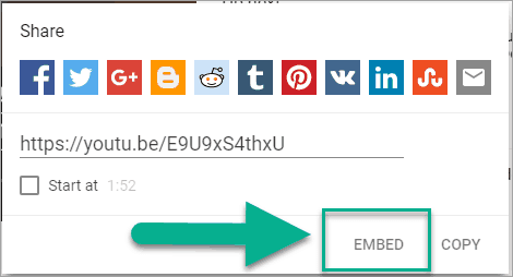Click on Embed to get the embed code for PowerPoint