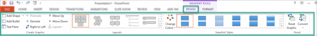 The options in the Design tab in SmartArt tools