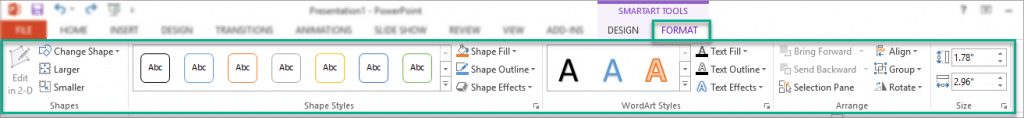 The options in the Format tab in SmartArt tools