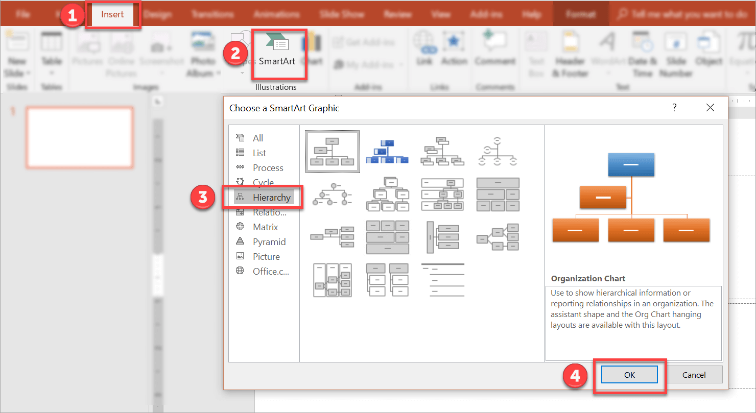 selecting the right org chart format in SmartArt