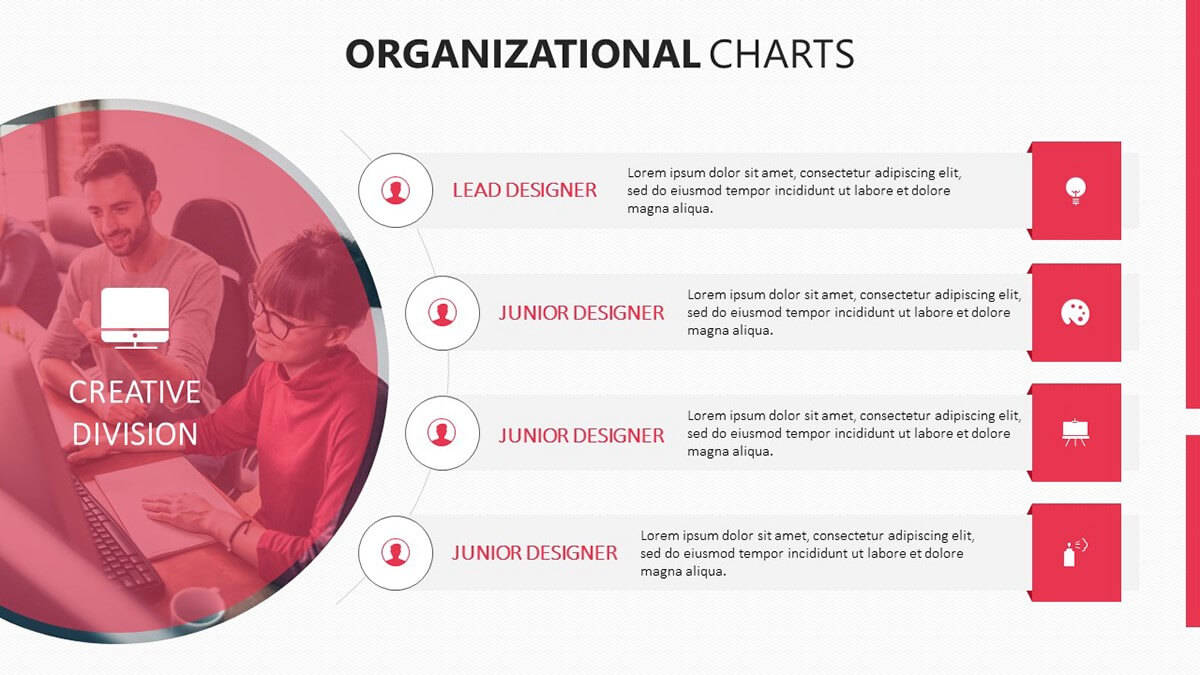 team or division level of organizational chart template pack