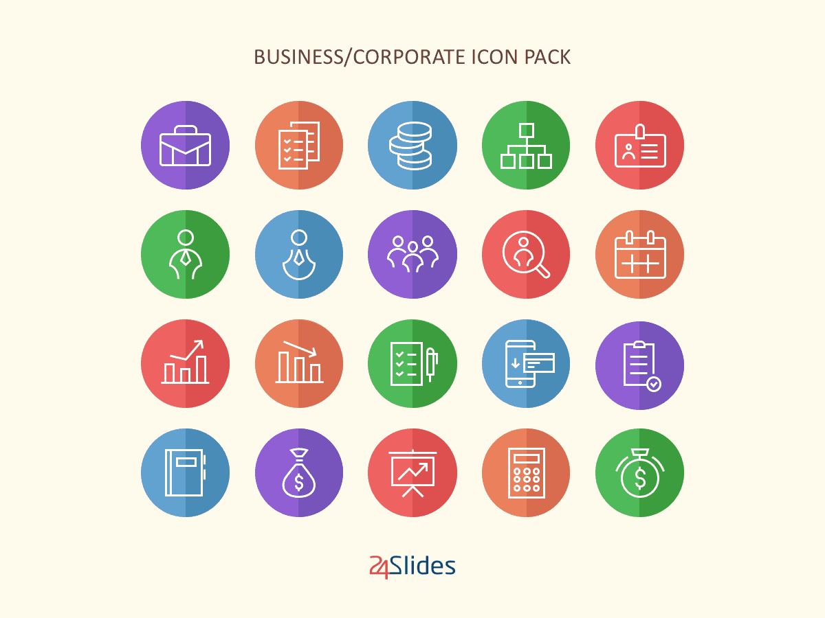 Corporate Colour Icon Pack by 24Slides