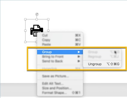 ungroup option in PowerPoint to edit your free presentation icons