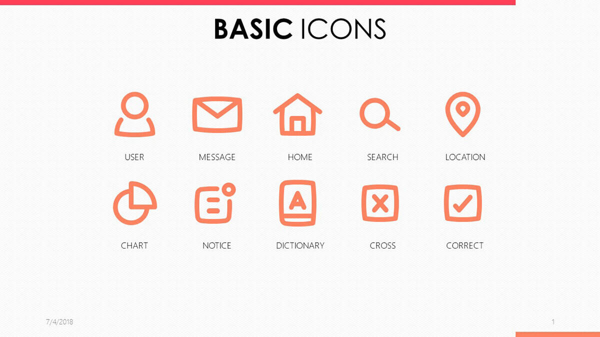 Basic Icons PowerPoint Template pack from 24Slides