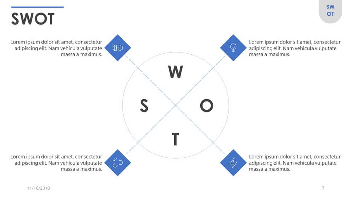 Cover slide of SWOT PowerPoint Template - one of the top free corporate PowerPoint templates