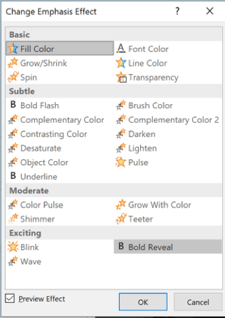PowerPoint - complete list of emphasis effects
