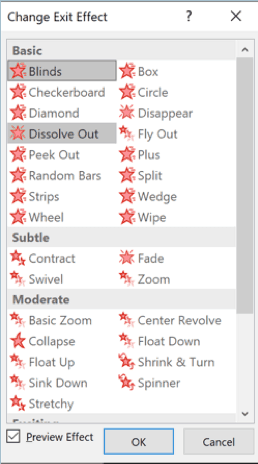 PowerPoint - complete list of exit effects