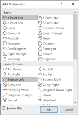 PowerPoint - complete list of motion paths effects