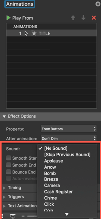 PowerPoint (mac) - the different animation sound effect options
