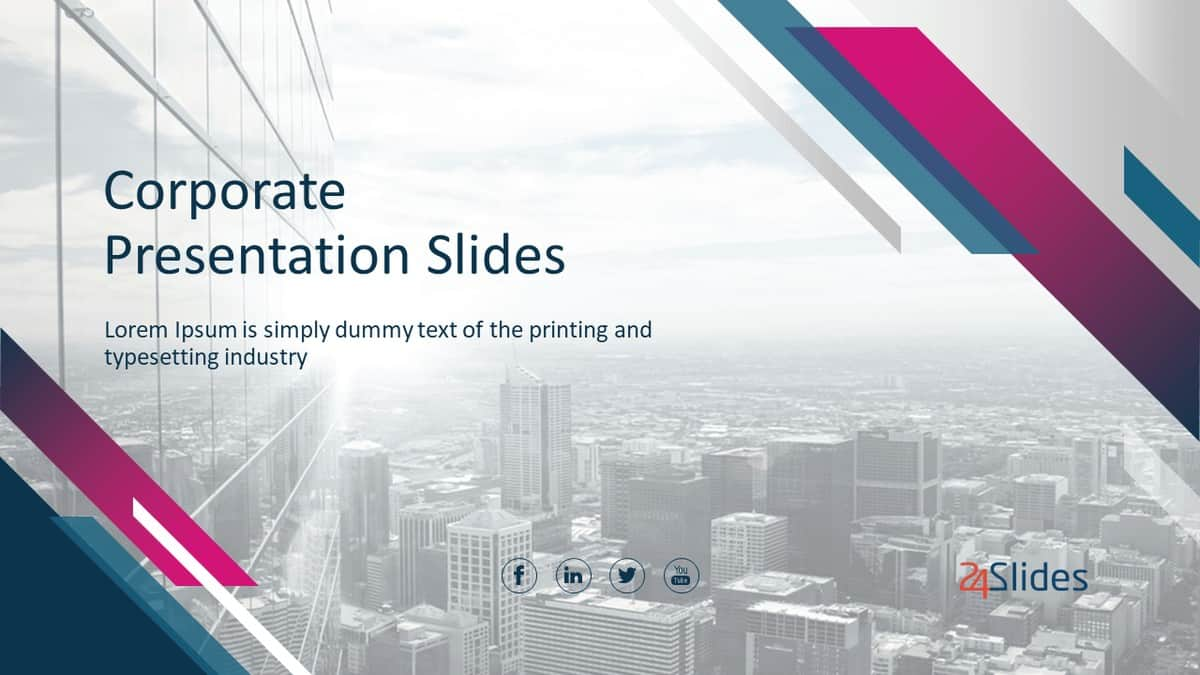 Cover slide of Corporate PowerPoint Template Pack from 24Slides