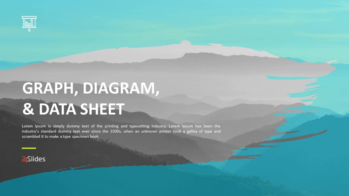 Cover slide of Graph, Diagram and Data Sheet PowerPoint Template Pack