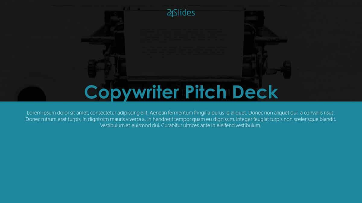 Copywriter Pitch Deck PowerPoint Template from 24Slides Template Hub (cover slide)