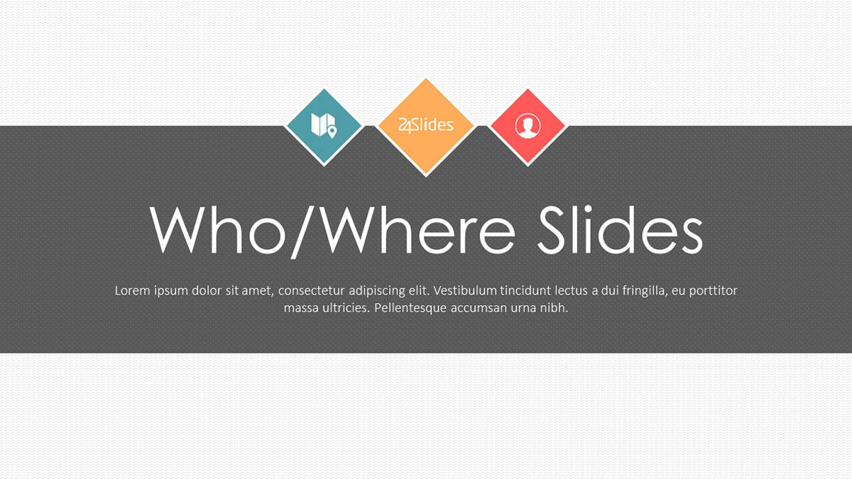 """Explaining the """"Who and Where"""" Presentation Template cover slide"""