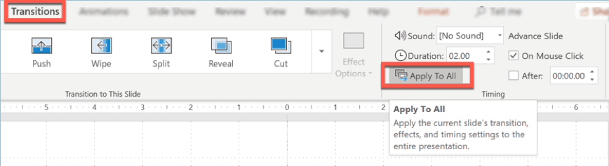 PowerPoint - how to apply the same transition effect to all slides