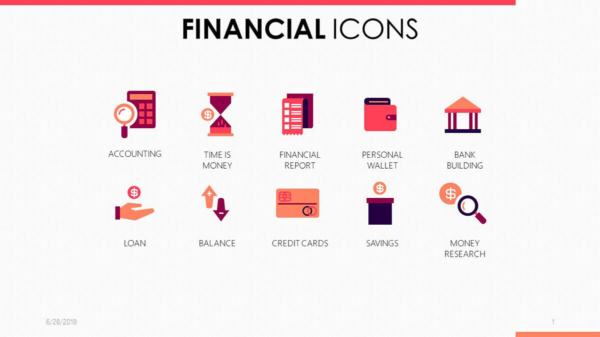 Financial Icons PowerPoint Template cover slide