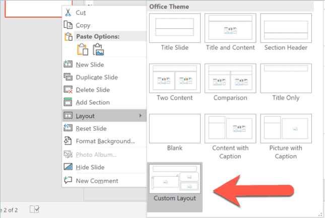 new custom layout created in slide master now appears