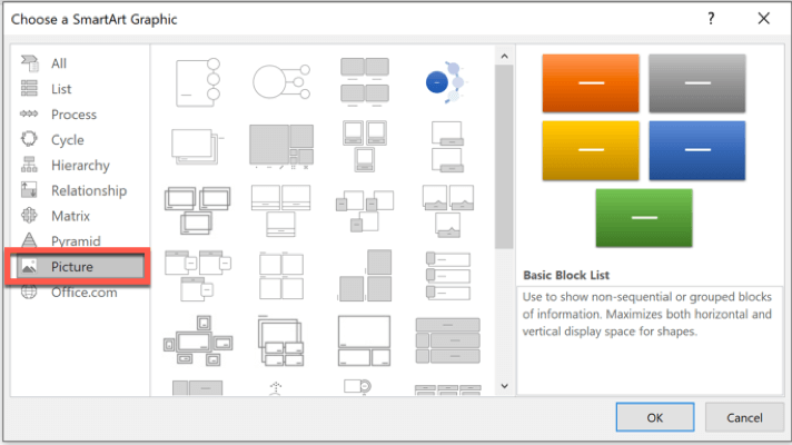 Picture SmartArt graphics in PowerPoint
