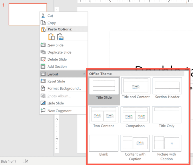 default layouts in powerpoint
